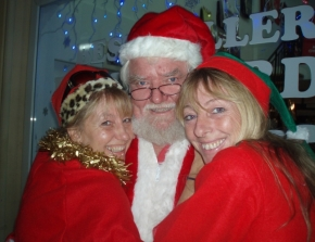 Vicki Karaca from The Black Olive Cafe, Santa and Michelle Gray (Bestseller/Christmas Shop Manager)