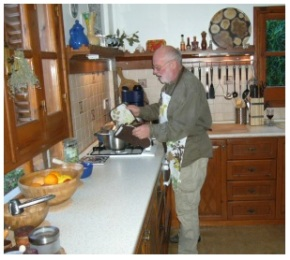 Horst busy in the kitchen