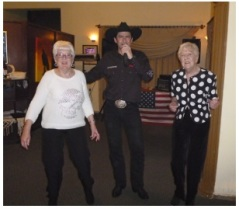 Brenda (right) and Carole (left) dancing with Devon