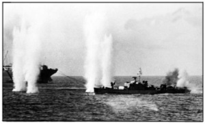 Patrol boat Phaethon comes under air-attack during the battle sml
