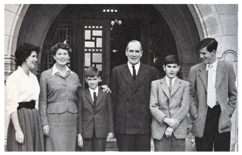 L to R daughter Joanne , mother Sylvia, son Oliver Governor Sir Hugh Foot
