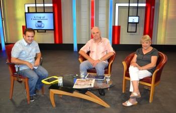 Cam Gazi talking tio Chris Elliott and Margaret Sheard