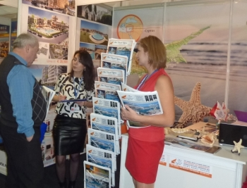 Our Russian interpreter Shamsiya and Burcu talking  to prospective clients