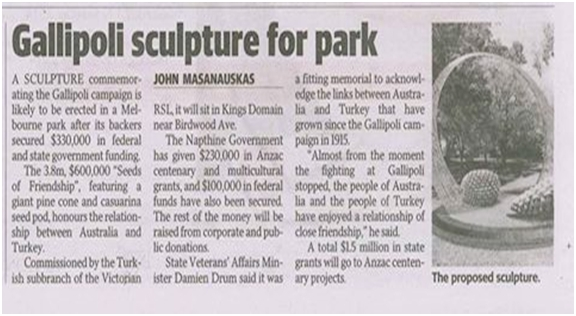 Gallipoli scupture for park article