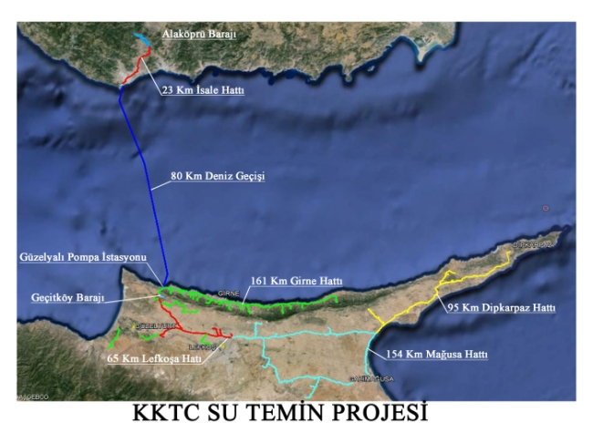 Map showing the Turkey to TRNC pipeline and distribution pipeline network