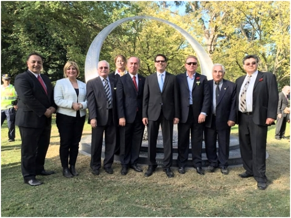 Photo ,at the opening of the Australian Turkish Friendship Memorial in the Shrine of Remembrance in Melbourne on 13.4.2015.