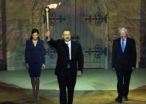 Presenting the flame at the !st Eruropean Games in Baku image