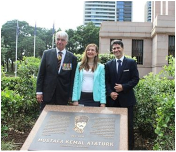 Sydney started the Centenary commemorations by opening of a plaque of Atatürk near their Remembrance Shrine in  New South Wales
