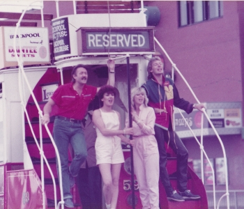 Brotherhood of Man take a ride on a Blackpool tram