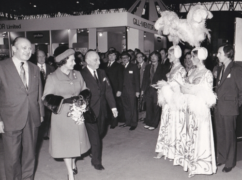 Her Majesty Queen Elizabeth II at the opening of the National Exhibition Centre in Birmingham.