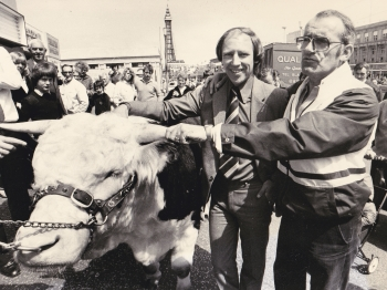 Jim Bowen and I with the bull