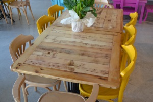 Recycled material for tables