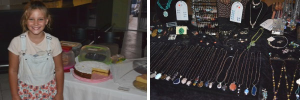 Gemma's daughter guarding the cakes and Dawn's jewellery