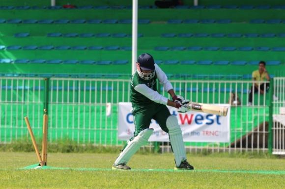 EMU basman Saad Ahmad being bowled