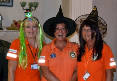 Claire Lamb center and friends at the Halloween Happening