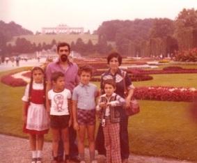 Schoenbrunn Palace, Vienna, Erden with Nahide, Argun, Attila and Günay with her son John