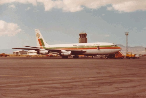 Jet parked in front of the tower. The apron at that time could accommodate only one aircraft.