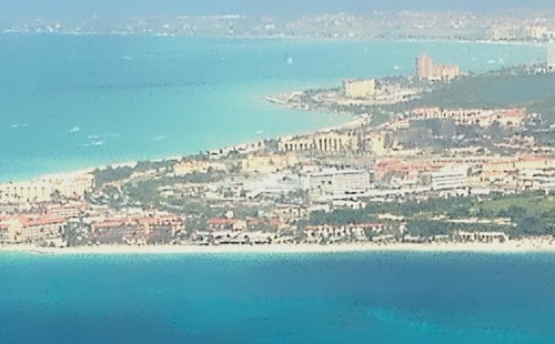 View of Aruba from aircraft