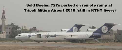 Sold Boeing 727s parked at a remote ramp at Tripoli Mitiga Airport still in basic KTHY livery in 2010.