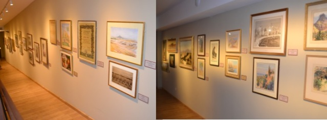 Some of the many paintings and watercolours