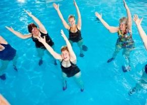Women in water aerobics class