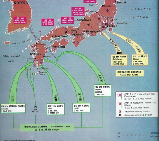 The planned invasion of Japan code named 'Operation Olympic' 2