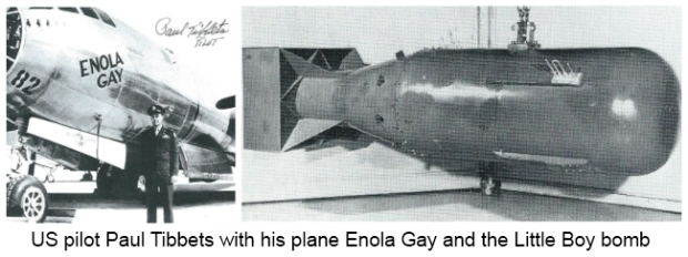 US pilot Paul Tibbets with Elona gay and Little Boy