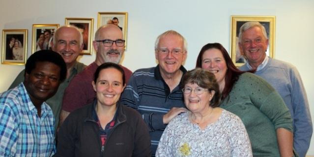 Back row: Bill Carpenter, Alan Walker, Roger Jones, Yvette Roberts, Mick Green Front row: Devon Brown, Helen Pollard, Mary Jones