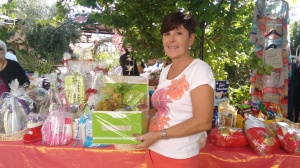 Denise with a hamper