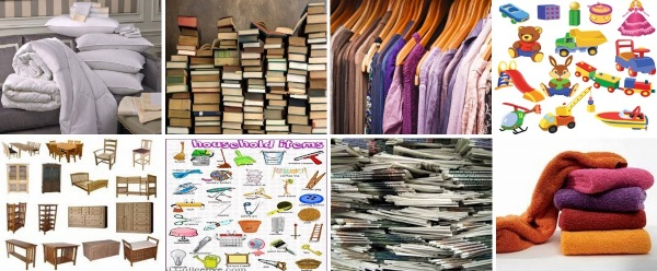 bedding, books, clothing, children's toys, furniture, household items, newspapers, towels
